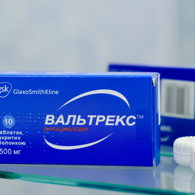 """Box of Valtrex tablets of 500 mg"" stock image"