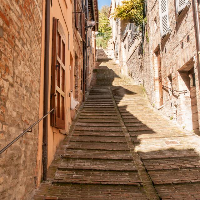 """Rising street in Urbino"" stock image"