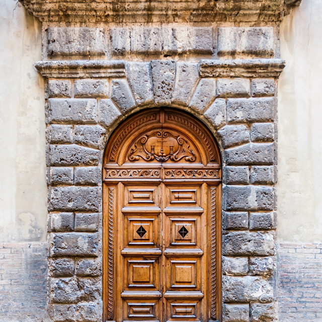 """Door detail of the Ducale Palace in Urbino city, Marche, Italy"" stock image"