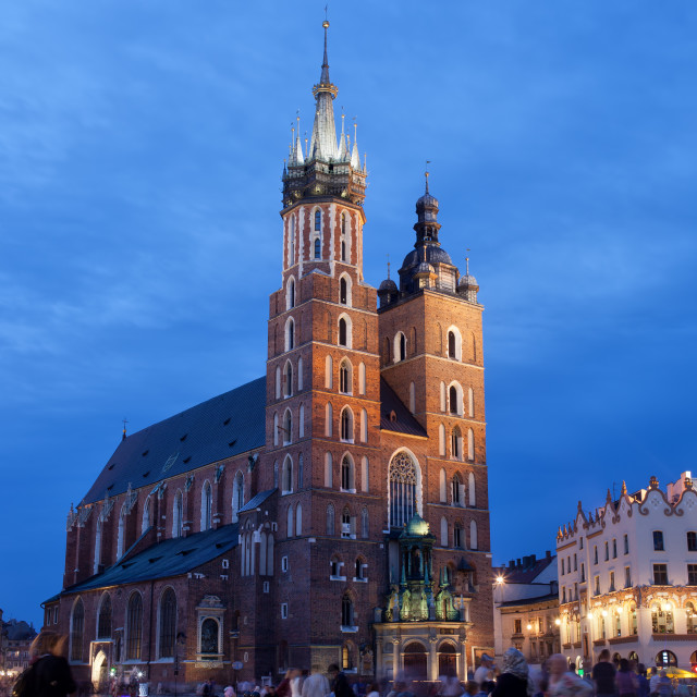 """""""St Mary's Basilica in Krakow at Night"""" stock image"""