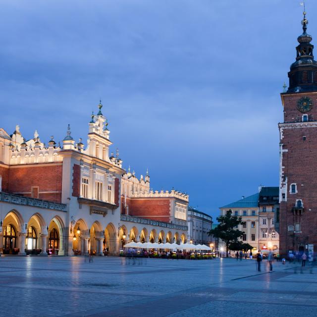 """Main Market Square at Night in Krakow"" stock image"