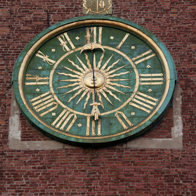 """""""Clock on Wawel Cathedral Bell Tower in Krakow"""" stock image"""