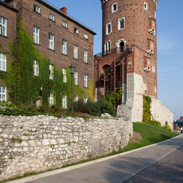 """Sandomierska Tower at Wawel Castle in Krakow"" stock image"