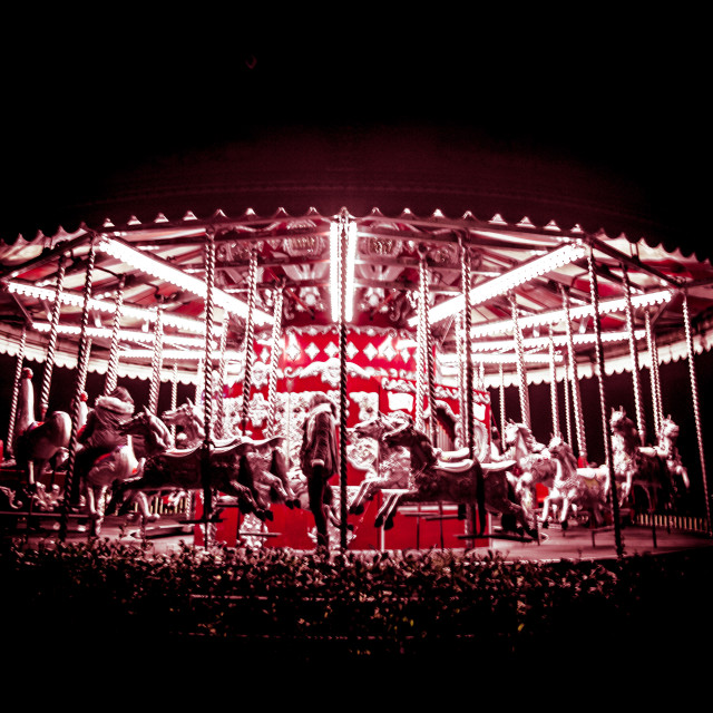 """""""Eerie carousel at night"""" stock image"""