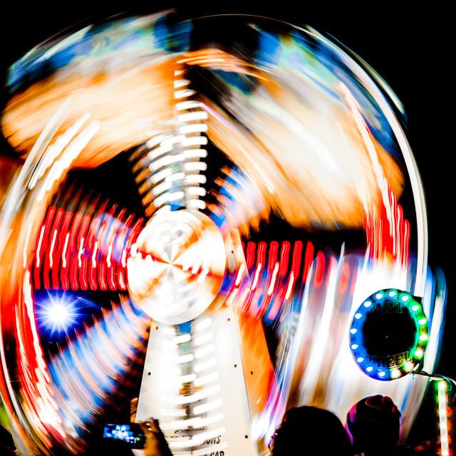 """Ferris wheel by night"" stock image"