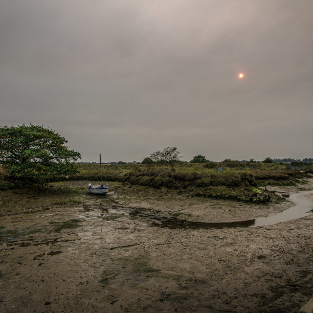 """Hurricane Ophelia Sun Over Beaumont Quay In Essex"" stock image"
