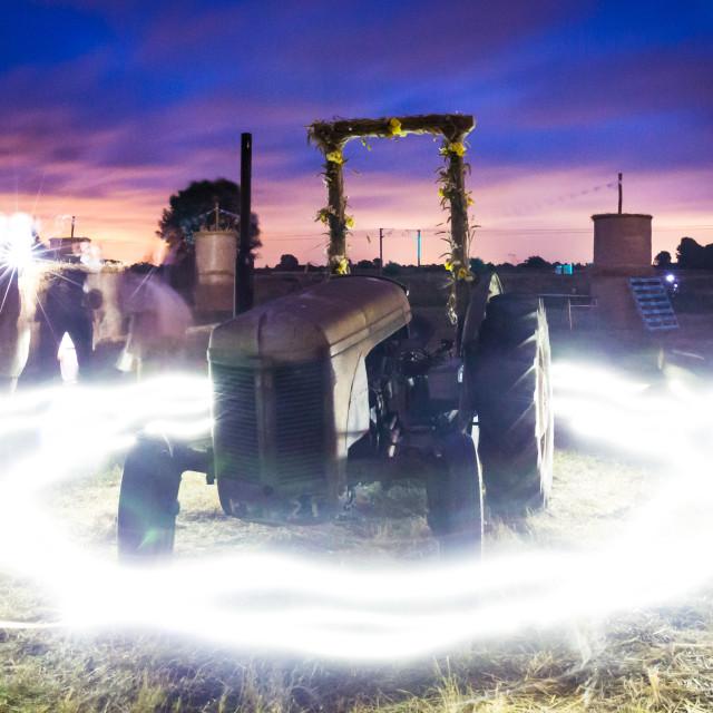 """Tractor illuminated"" stock image"
