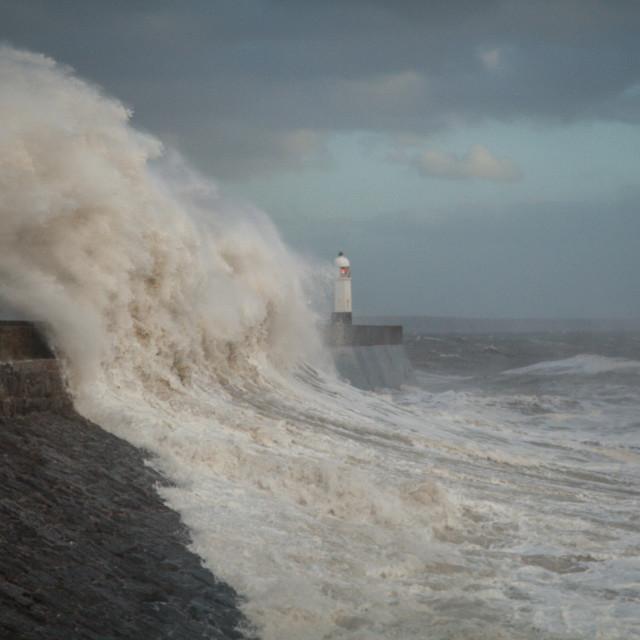 """""""Ophelia hits Porthcawl sea wall"""" stock image"""