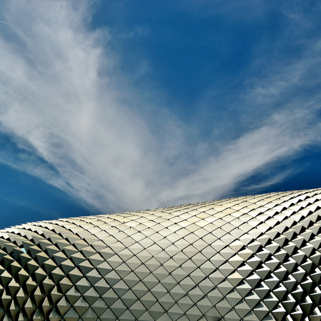 """The Esplanade Theaters on the Bay, Singapore, under an azure tropical sky"" stock image"