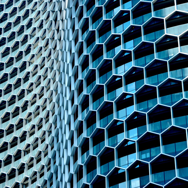 """""""Curving honeycomb facade of the Duo Tower"""" stock image"""