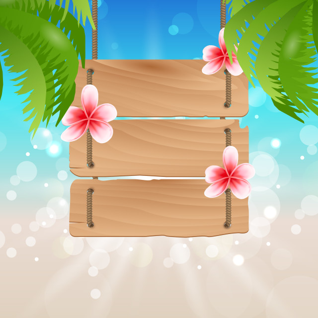 """Hanging wooden guidepost with exotic flowers frangipani and palmtrees"" stock image"