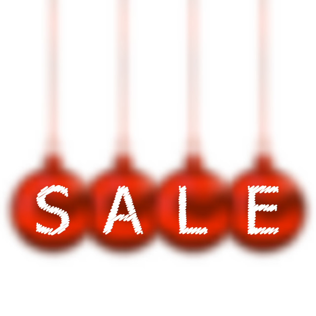 """""""Christmas balls with lettering sale"""" stock image"""