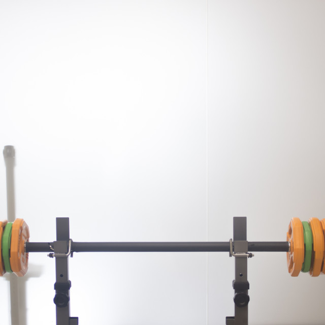 """""""Barbell weights training bench"""" stock image"""