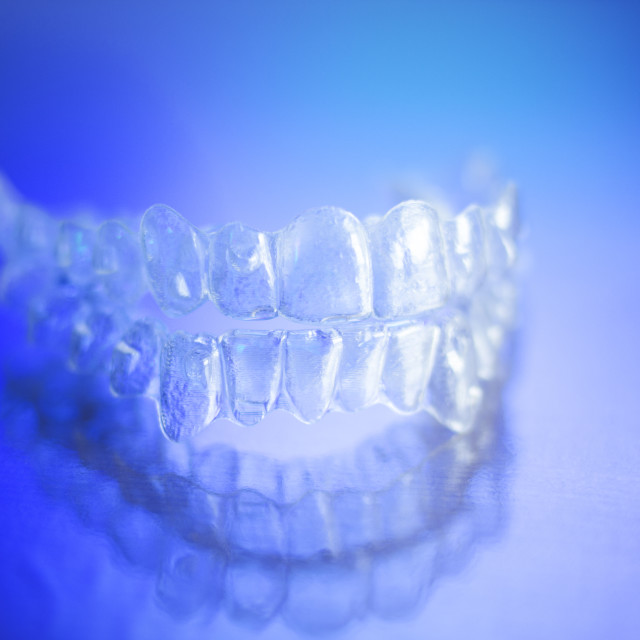 """Invisible teeth dental retainer"" stock image"
