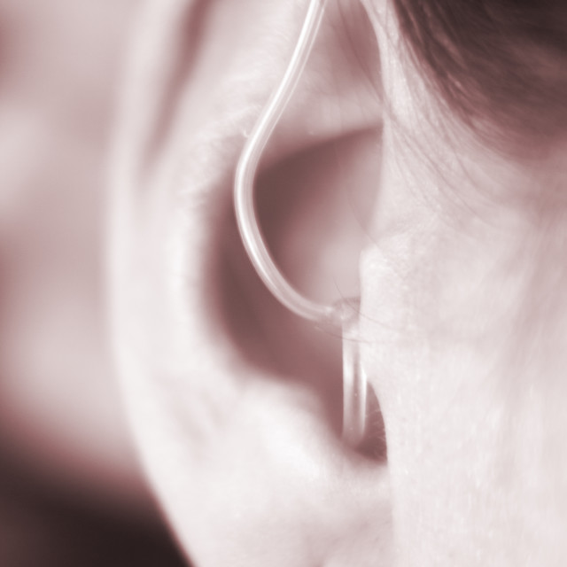 """""""Hearing aid in ear"""" stock image"""