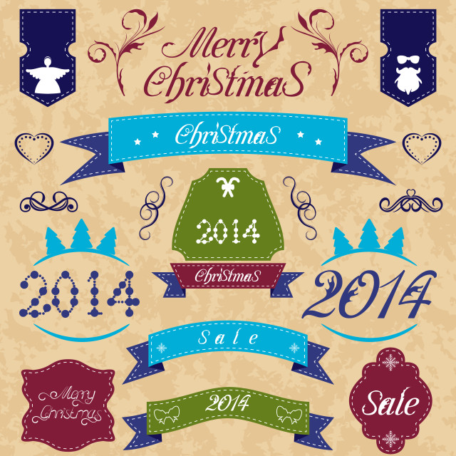 """""""Christmas set - labels, ribbons and other decorative element"""" stock image"""
