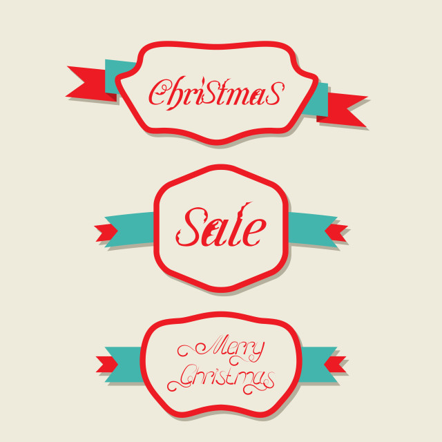 """""""Christmas set variation vintage labels with text"""" stock image"""