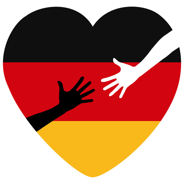 """Refugees Welcome to Germany"" stock image"