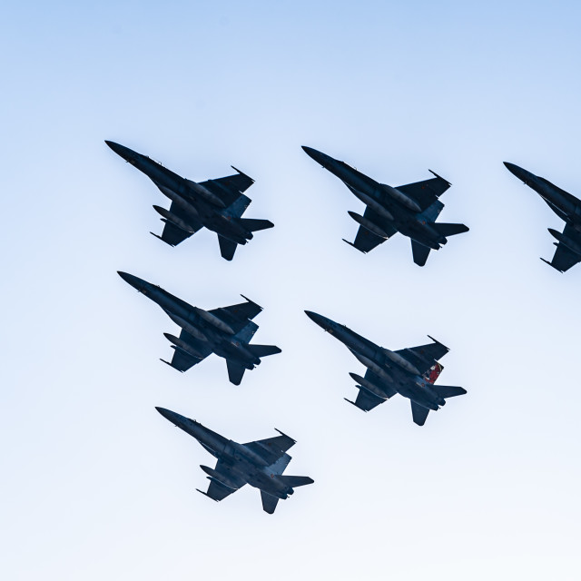 """""""Six F18 Hornet jet fighters flying a blue sky day"""" stock image"""