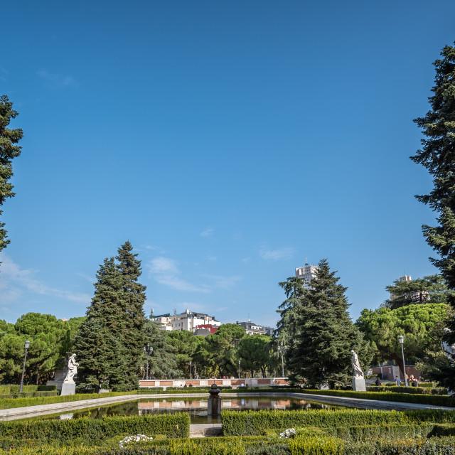 """Sabatini Gardens and Royal Palace of Madrid"" stock image"