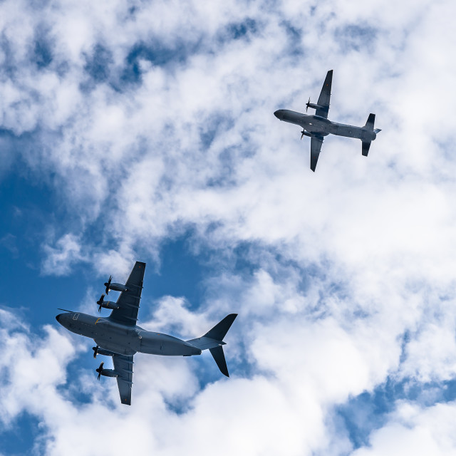 """""""Transport military aircrafts flying in formation"""" stock image"""