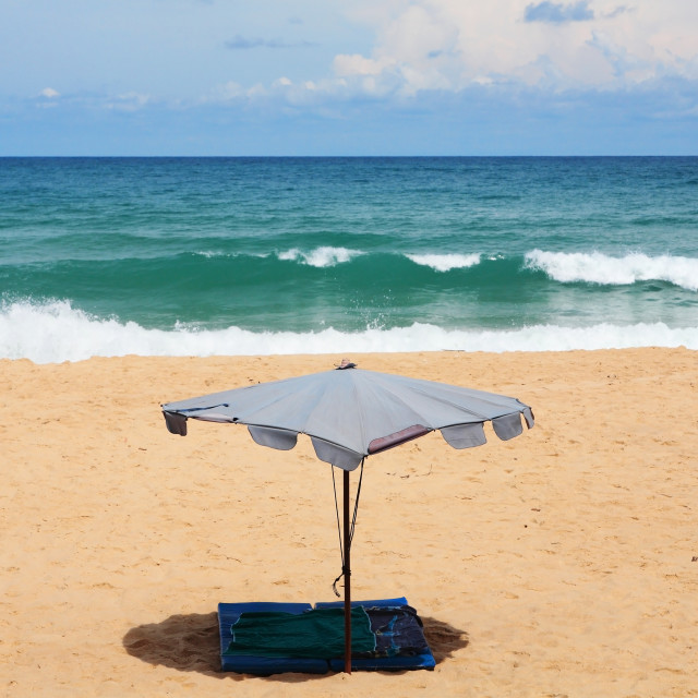 """umbrella and soft sheet on beach, Phuket"" stock image"