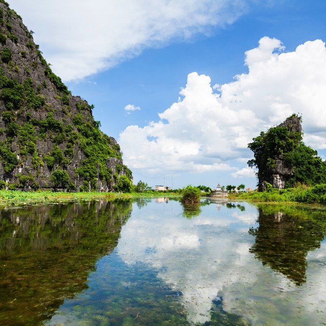 """karst mountains and river, Tam Coc"" stock image"