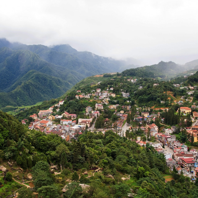 """""""top view of Sapa Town cityscape"""" stock image"""