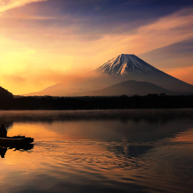 """Silhouette fishing boat and Mt. Fuji at Shoji lake"" stock image"