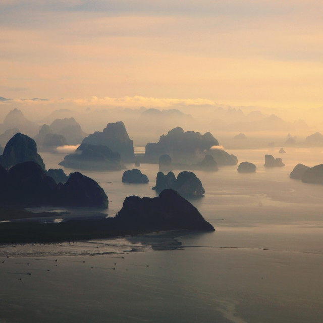 """Small Limestone mountains in Andaman sea"" stock image"