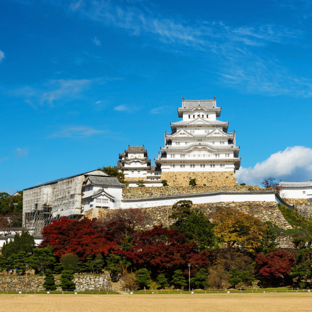 """Himeji Castle with autumn foliage colors"" stock image"