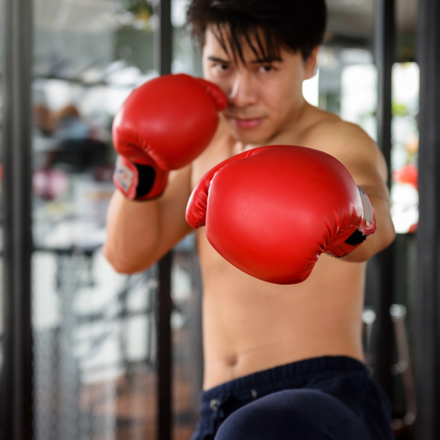 """Man practicing Muay Thai at gym"" stock image"