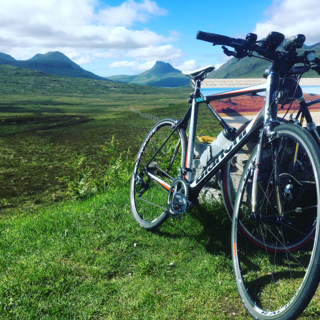 """Cycle Tour in the Far North Scotland"" stock image"
