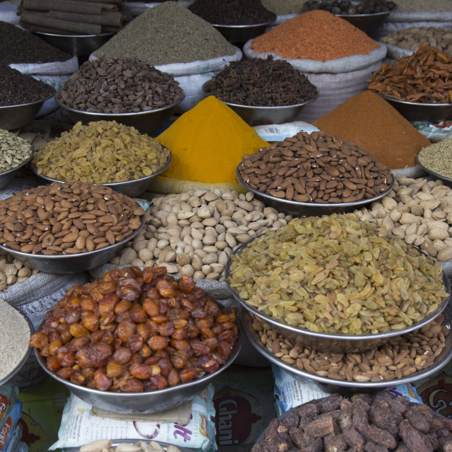 """""""Dry fruit and Stacks of spices"""" stock image"""