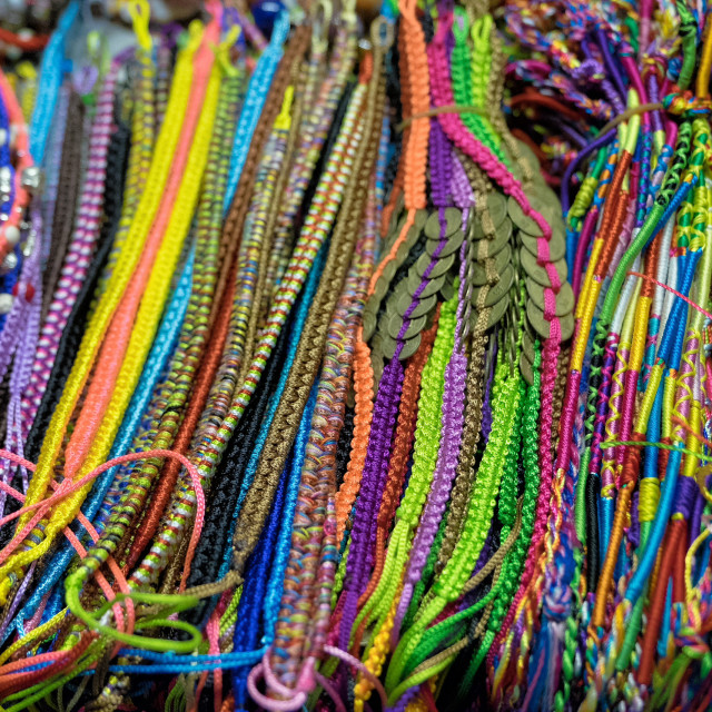 """Colorful bracelets on vietnamese market"" stock image"