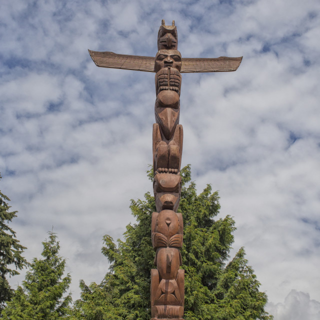 """Totem pole in Vancouver, Canada"" stock image"