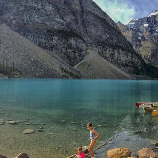 """""""Lake with kayaks"""" stock image"""