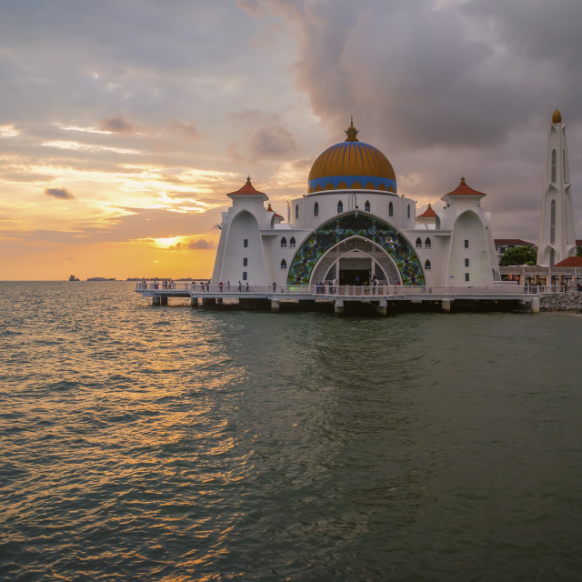 """""""Beautiful sunset over the mosque, Malacca Straits Mosque"""" stock image"""
