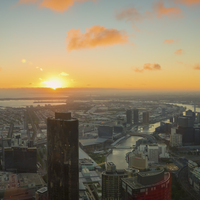 """""""Aerial view of dramatic sunset at Melbourne city skyline"""" stock image"""