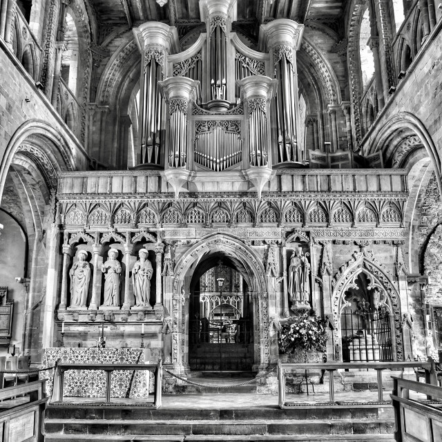 """St Davids Cathedral - view from the pews"" stock image"