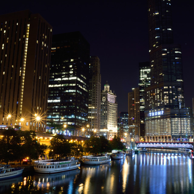"""""""Downtown Chicago at night."""" stock image"""