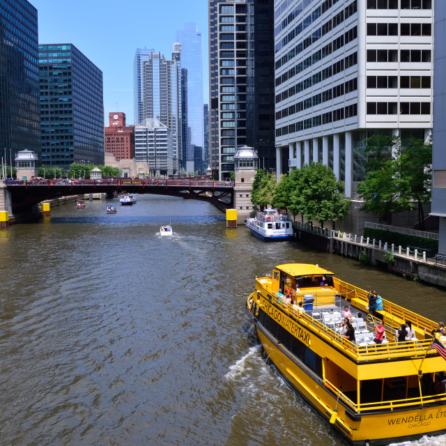 """""""Chicago Water Taxi on the Chicago River in downtown."""" stock image"""