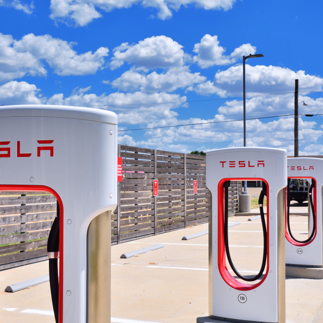 """Tesla Supercharger Station in Shamrock, Texas."" stock image"