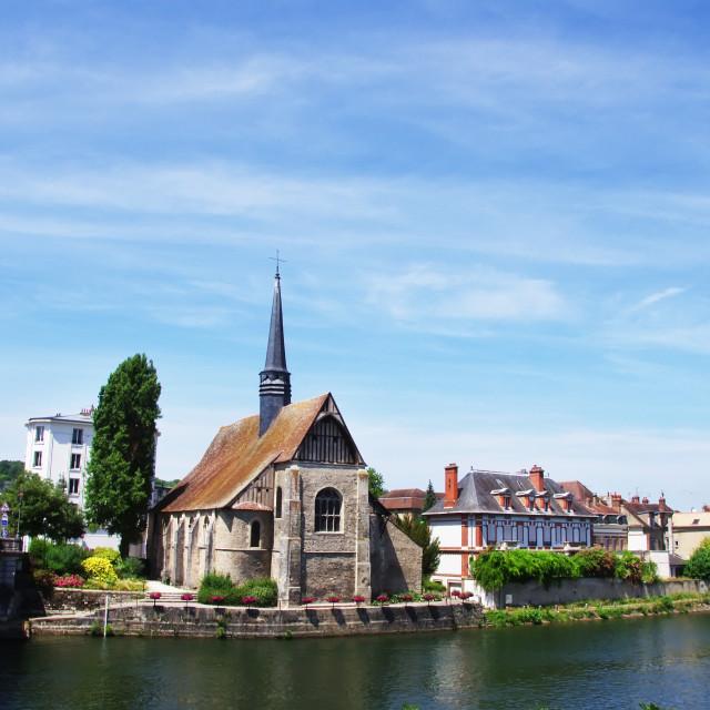 """Church Saint- Maurice in Sens, Burgundy, France"" stock image"