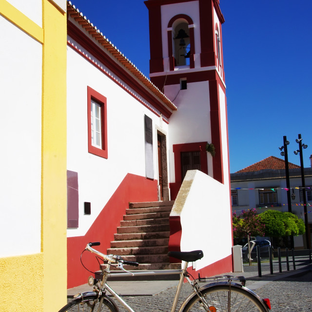 """Old bicycle on a city street at Portugal"" stock image"