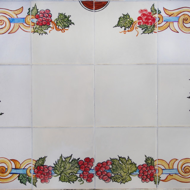 """decorated tile plaque in street at south of Portugal"" stock image"