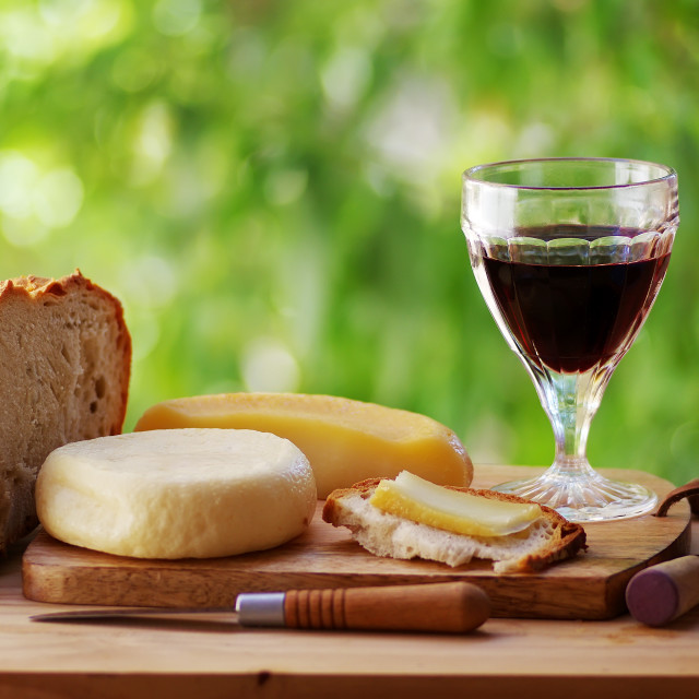 """""""cheese, bread, and red wine on table"""" stock image"""