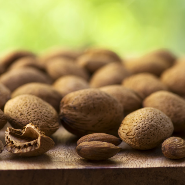 """close up view of shelled almond nuts"" stock image"