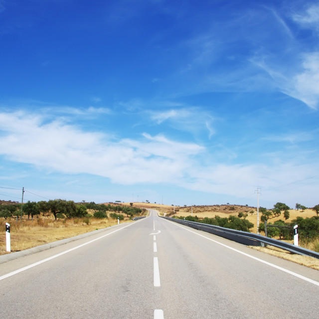 """Country road in Alentejo, south of Portugal"" stock image"