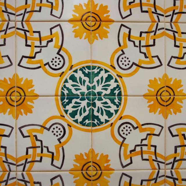 """Portuguese tiles (azulejos), green and yellow pattern in Lisbon"" stock image"